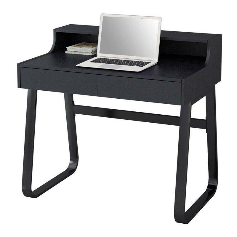 SIX Petit bureau informatique en bois et métal noir avec tiroirs