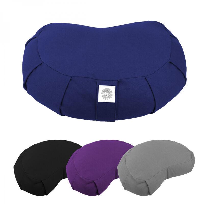 VIVEZEN Pouf, zafu, coussin de méditation, yoga - Demi-lune - 44 x 27 x 13 cm - Bleu - Vivezen