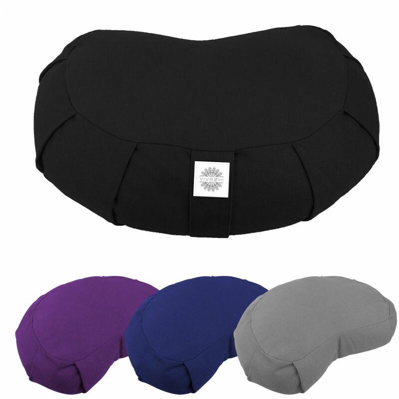 VIVEZEN Pouf, zafu, coussin de méditation, yoga - Demi-lune - 44 x 27 x 13 cm - Noir - Vivezen