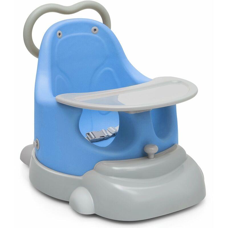 Décoshop26 - Réhausseur de chaise pour bébé 6 en 1 trotteur plateau et base amovible avec roulettes en polyuréthane 3-36 mois 25kg bleu - bleu
