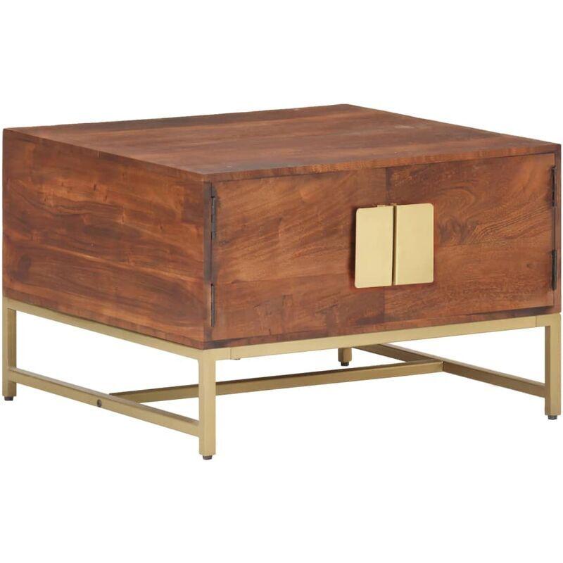ROGAL table basse marron miel 67x67x45 cm bois solide d'acacia - Rogal