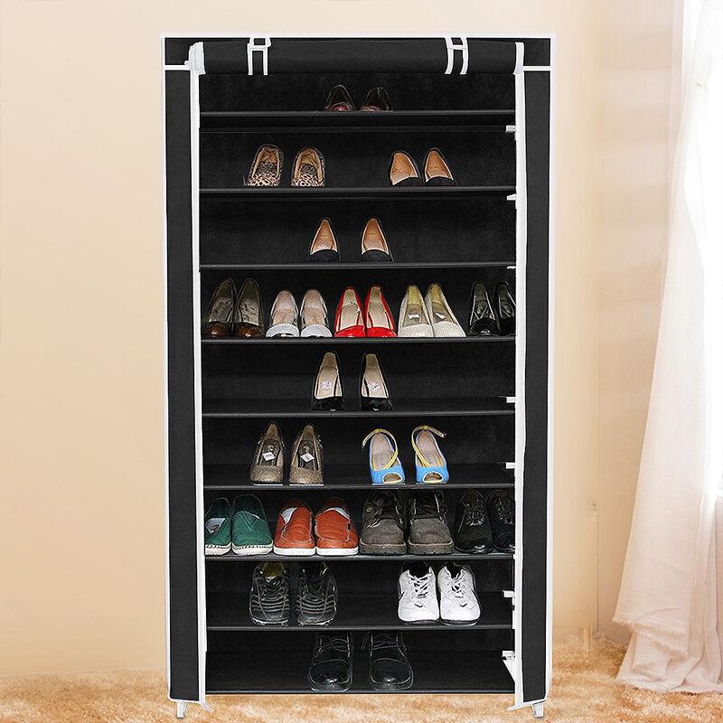 SIFREE ®Armoire étagères à chaussures 9 couches 45 paires de chaussures avec housse 88 x 28 x 160cm noir - Sifree