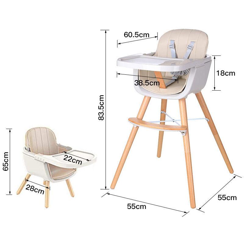 SiFree®Chaise haute évolutive pour bébé, multi-fonction 2 en 1 / avec plateau / coussin confortable/?Champagne?