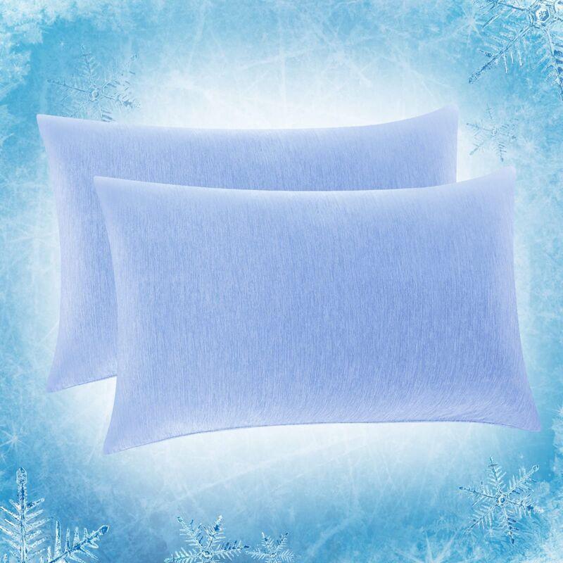 SOLEDI Lot de 2 Taie d'oreiller Rafraîchissante,Fibre de Refroidissement Japonaise Q-Max 0.4 Taie d'oreiller d'été,Rafraîchissant et Respirant,