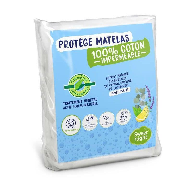 SWEET NIGHT Protege matelas impermeable anti-acariens traitement vegetal Greenfirst - 90 x 190/200 cm - Blanc - Sweet Night