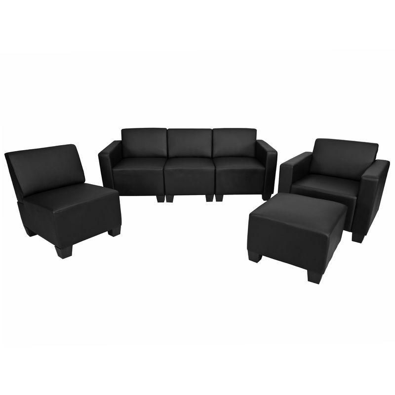 HHG Système de canapé modulaire Lyon, ensemble, simili-cuir, noir