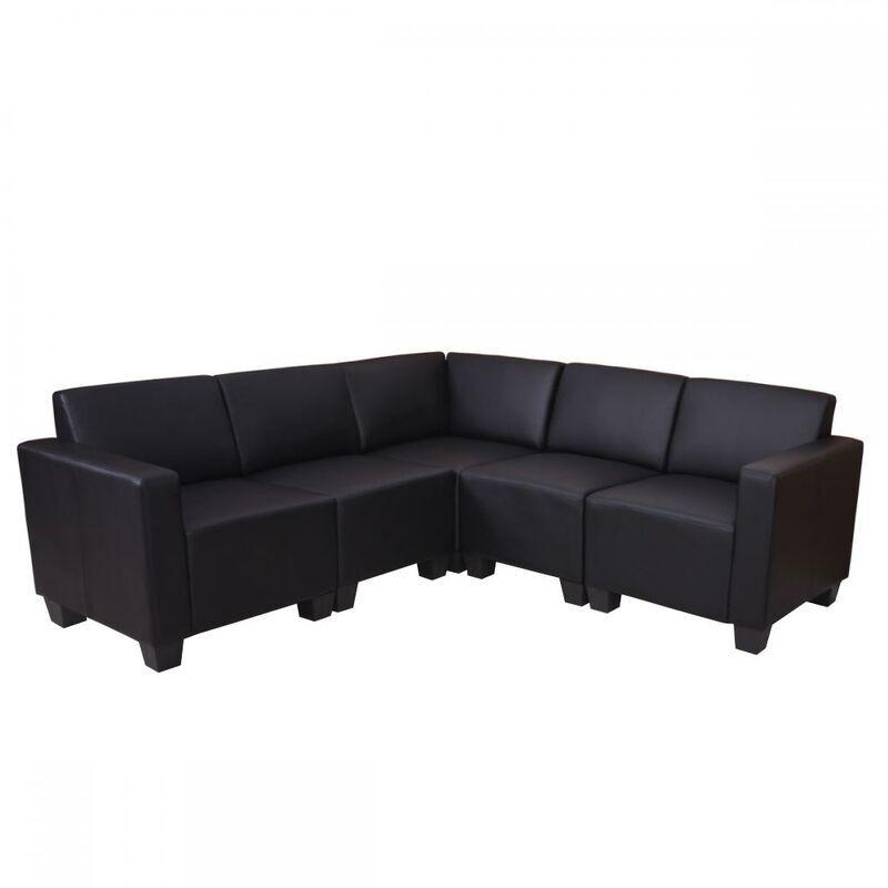 HHG Système modulaire de canapé Lyon 5, garniture de canapé, similicuir ~ noir