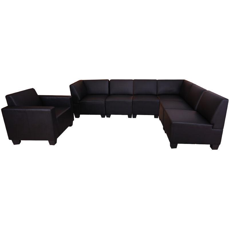 HHG Système modulaire de canapé Lyon 6-1, garniture de canapé, similicuir ~ noir