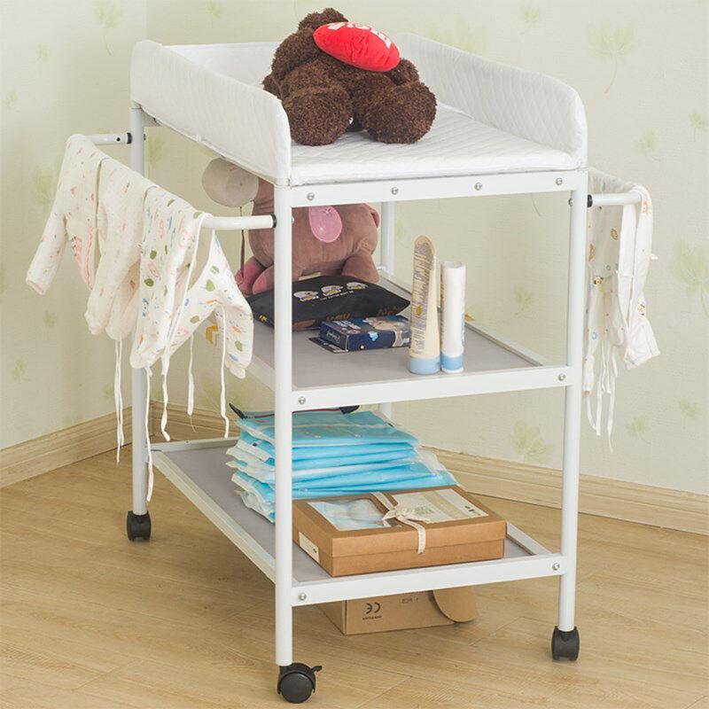 OOBEST Table à Langer 3 Couches, Portable, Table à Langer Chambre Bébé avec 4 Roues