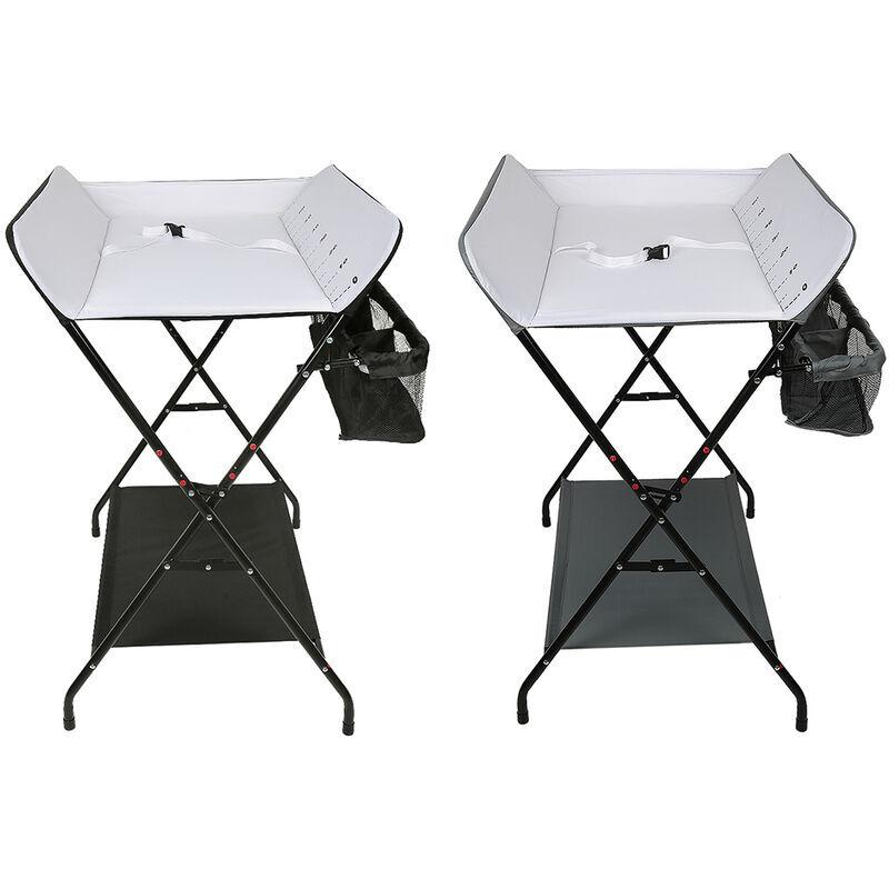 SIFREE Table à Langer Pliable et Portable, Table a Langer Pliante Chambre Bébé Réglable en Hauteur (GRIS)