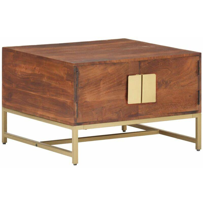 HAPPYSHOPPING Table basse Marron miel 67x67x45 cm Bois solide d'acacia