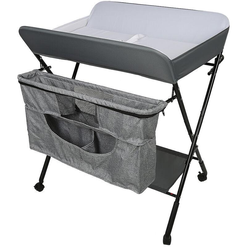 AQRAU Table à langer bébé pliante avec 4 roues 80 * 63 * 93-99cm