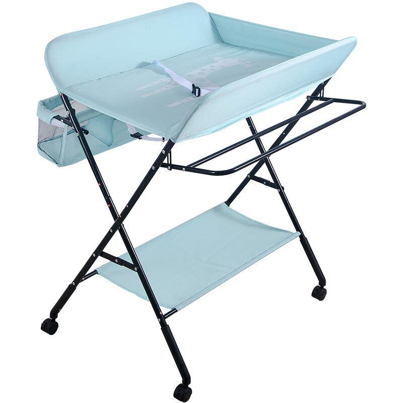 AQRAU Table à langer des couches pour bébé, pliable, réglable en hauteur, libre de mouvement   Bleu
