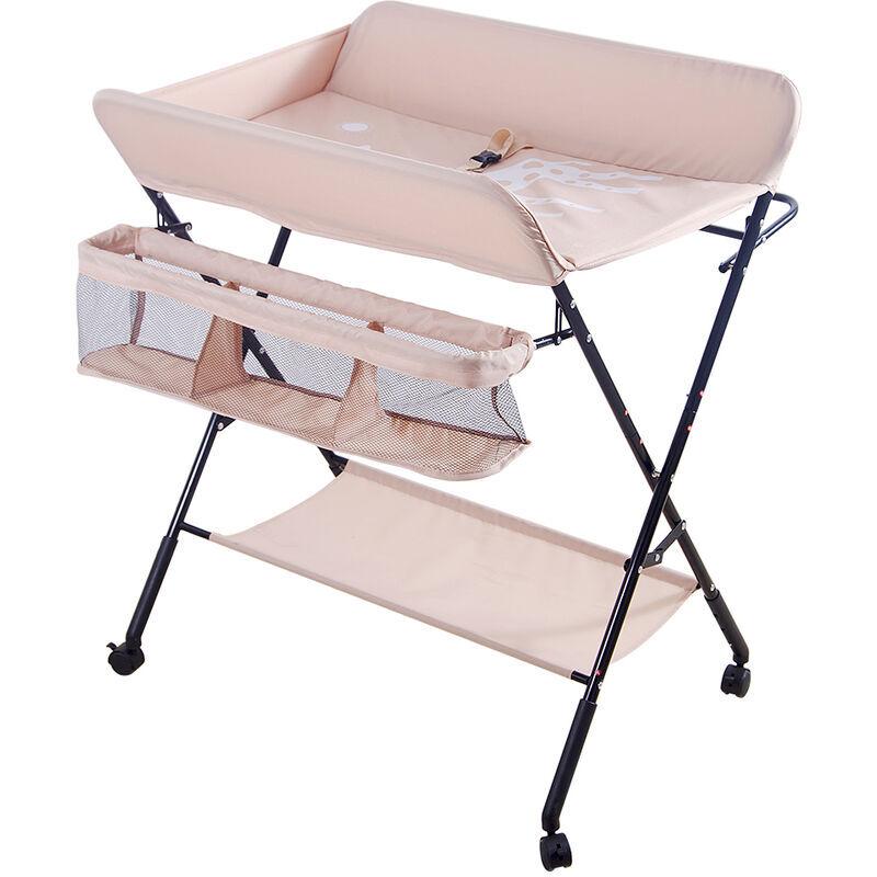 AQRAU Table à langer des couches pour bébé, pliable, réglable en hauteur, libre de mouvement   Rose