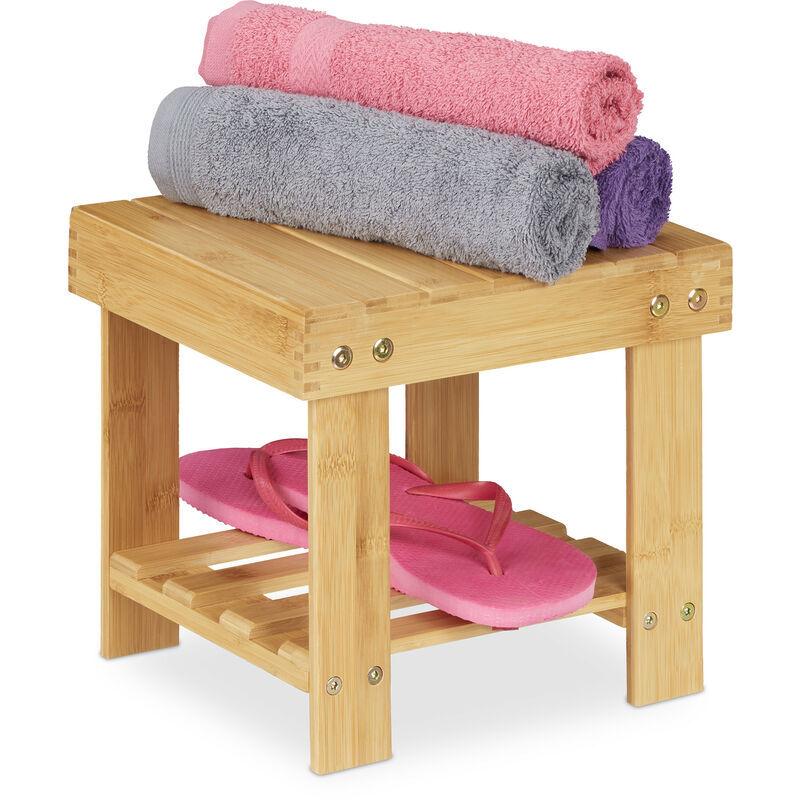 RELAXDAYS Tabouret de salle de bain solide en bambou, repose-pieds, jusqu'à 100 kg, H x L x P 24,5 x 25 x 27 cm, nature