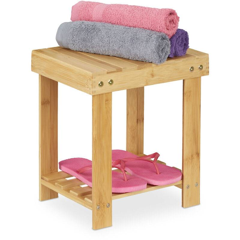 RELAXDAYS Tabouret de salle de bain solide en bambou, repose-pieds, jusqu'à 100 kg, H x L x P 33,5 x 25 x 31 cm, nature