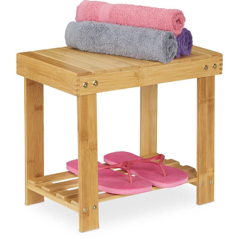 RELAXDAYS Tabouret de salle de bain solide en bambou, repose-pieds, jusqu'à 100 kg, H x L x P 33,5 x 25 x 39 cm, nature