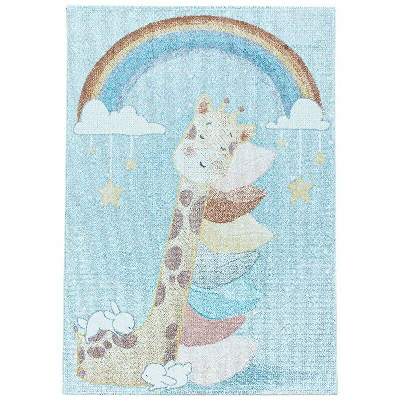 J&KIDS Tapis bébé à courtes mèches bleu Giraphe Bleu 140x200 - Bleu