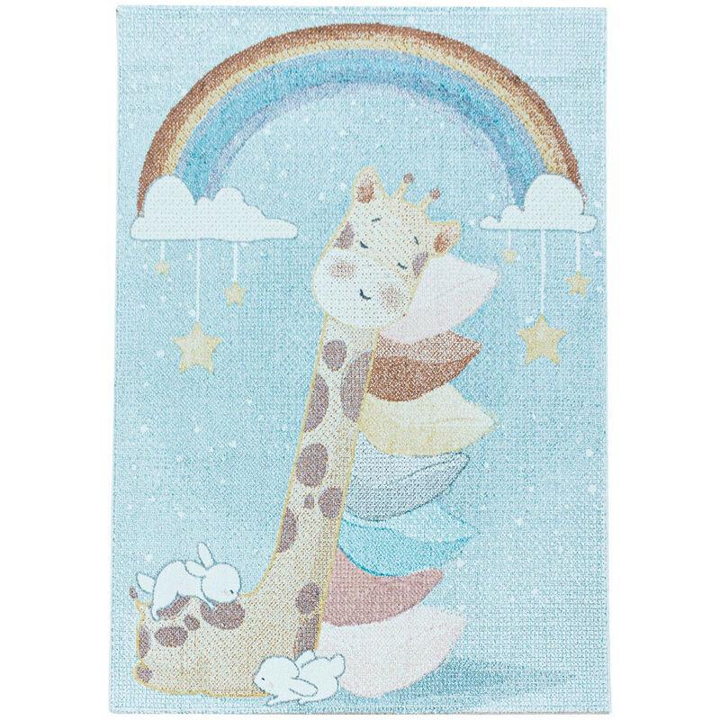 J&KIDS Tapis bébé à courtes mèches bleu Giraphe Bleu 160x230 - Bleu