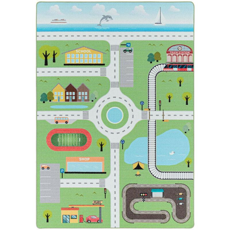 J&KIDS Tapis chambre bébé et enfant Road Vert 160x230 - Vert