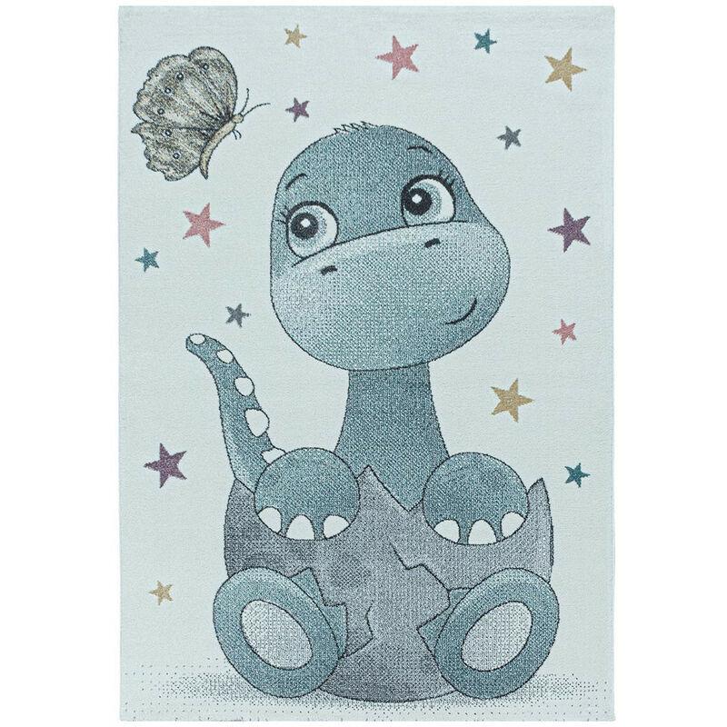 J&KIDS Tapis à courtes mèches pour enfant Bébé Dino Bleu 160x160 - Bleu