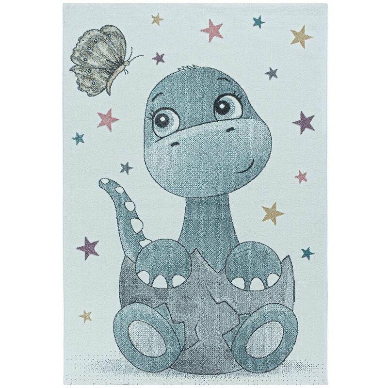 J&KIDS Tapis à courtes mèches pour enfant Bébé Dino Bleu 200x290 - Bleu