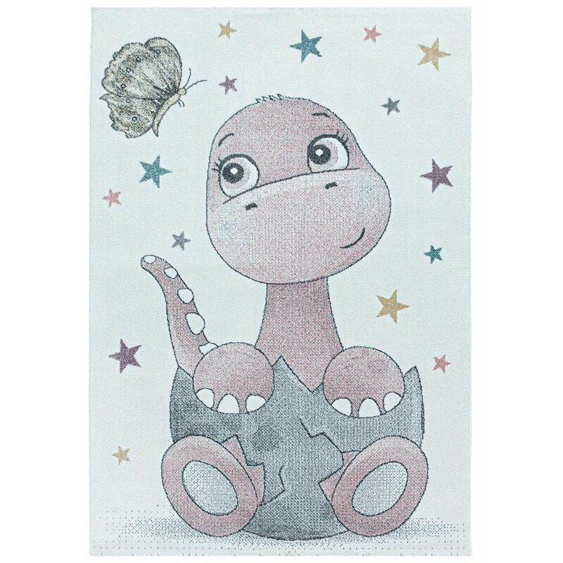 J&KIDS Tapis à courtes mèches pour enfant Bébé Dino Rose 160x160 - Rose