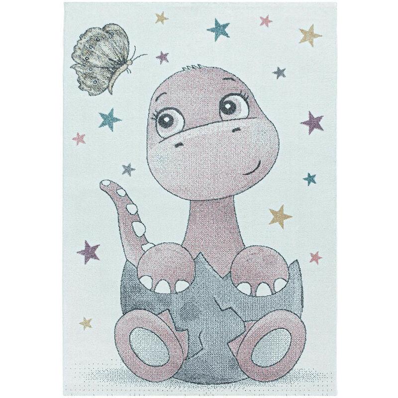 J&KIDS Tapis à courtes mèches pour enfant Bébé Dino Rose 160x230 - Rose