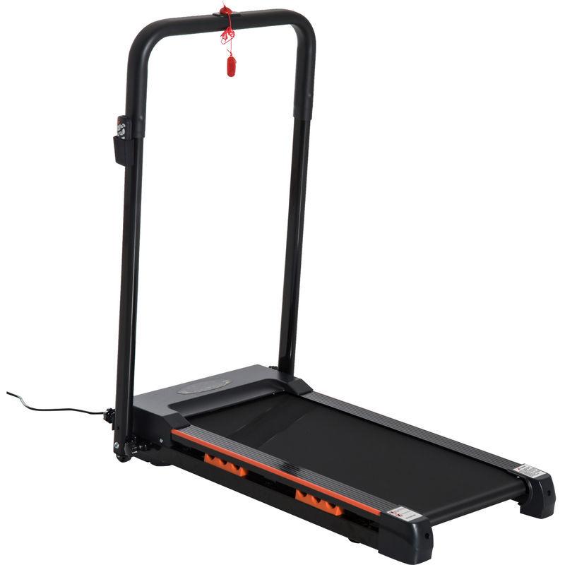 Homcom - Tapis de course électrique de marche 370 W pliable télécommande écran LCD vitesse 1-6 Km/h acier noir
