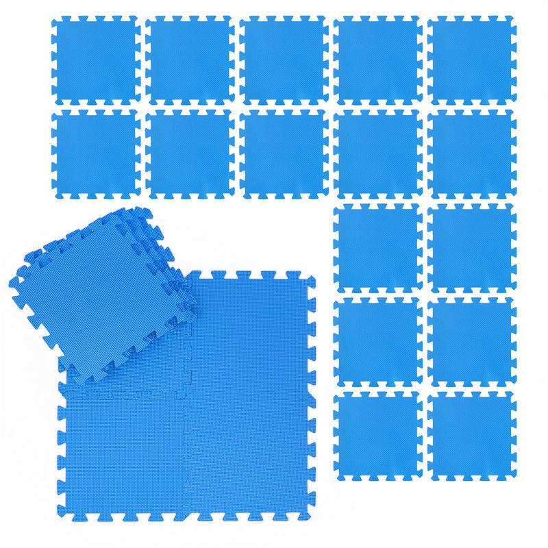 Relaxdays - Tapis de sol 24 nattes pour fitness et appareils de sport, EVA, sans BPA, superficie 2,1 m²,lxP 30x30 cm,bleu