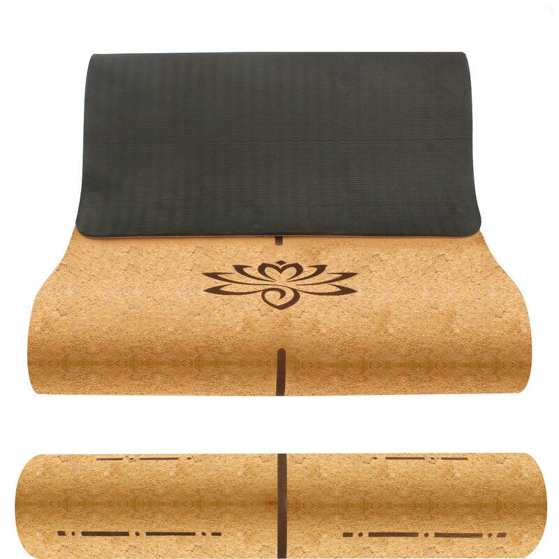LEOGREEN Tapis de yoga en liège TPE avec Sac de Transport et Sangle, Tapis de Sport avec Système de Lignes D'alignement, Ecologique de 5mm Pour le yoga, Le