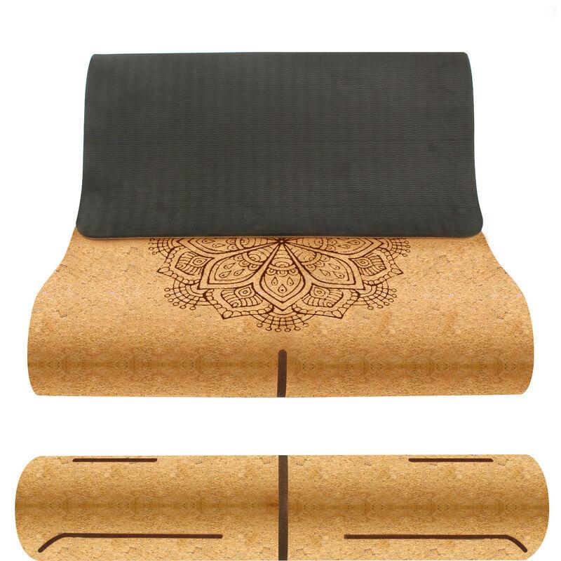 LEOGREEN Tapis de yoga en liège TPE avec Sac de Transport et Sangle, Tapis de Sport avec Système de Lignes D'alignement, Ecologique de 6mm Pour le yoga, Le