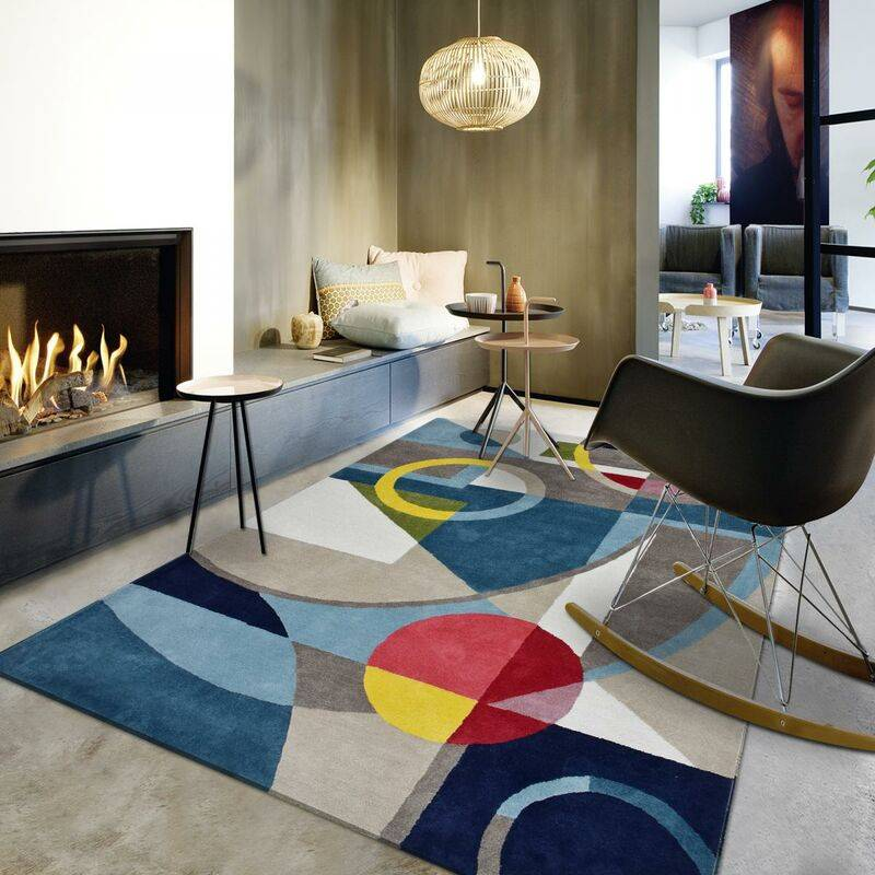 JADOREL Tapis design 120x170 cm Rectangulaire CONTEMPORAIN 100% BIO Multicolore Chambre Tufté main Coton