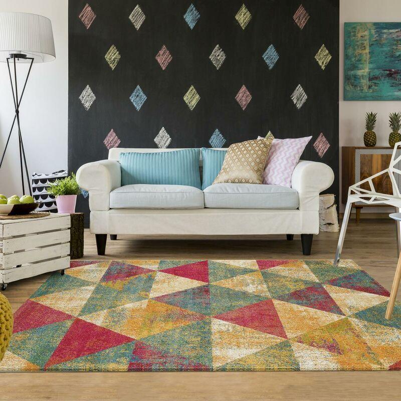 UNAMOURDETAPIS Tapis design 120x170 cm Rectangulaire KVG BENTO Multicolore Salon adapté au chauffage par le sol