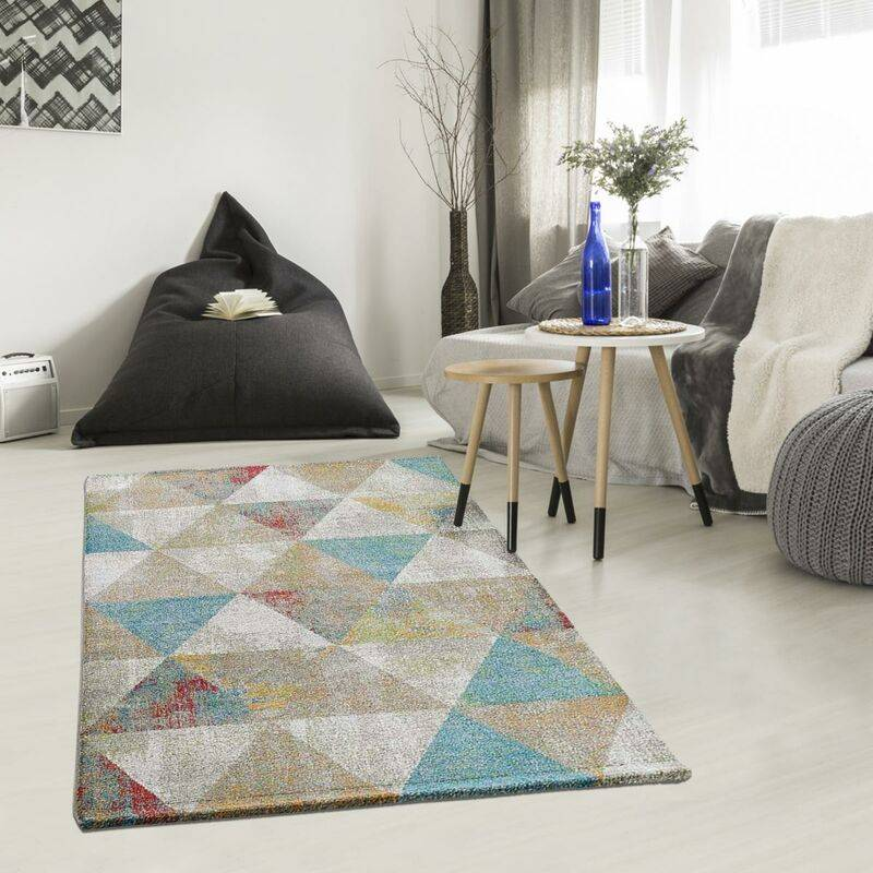 UNAMOURDETAPIS Tapis design 80x150 cm Rectangulaire KVG BENTO Bleu Chambre adapté au chauffage par le sol