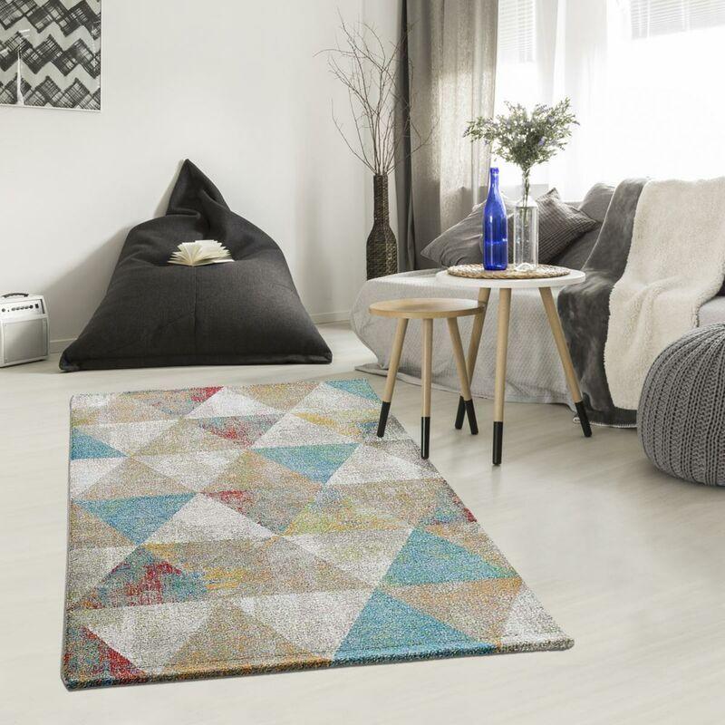 UNAMOURDETAPIS Tapis design 120x170 cm Rectangulaire KVG BENTO Bleu Salon adapté au chauffage par le sol