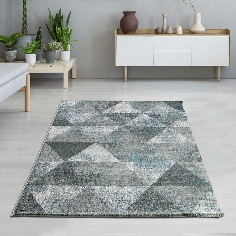 UNAMOURDETAPIS Tapis design 80x150 cm Rectangulaire KVG BENTO Gris Chambre adapté au chauffage par le sol