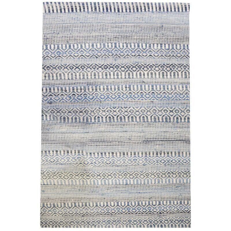 THE RUG REPUBLIC Tapis en coton recyclé et laine ivoire et bleu Sarah 230 x 160 cm - Ivoire