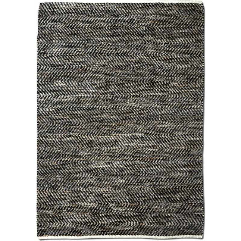 THE RUG REPUBLIC Tapis en cuir et chanvre charbon Stables 180 x 120 cm - Charbon