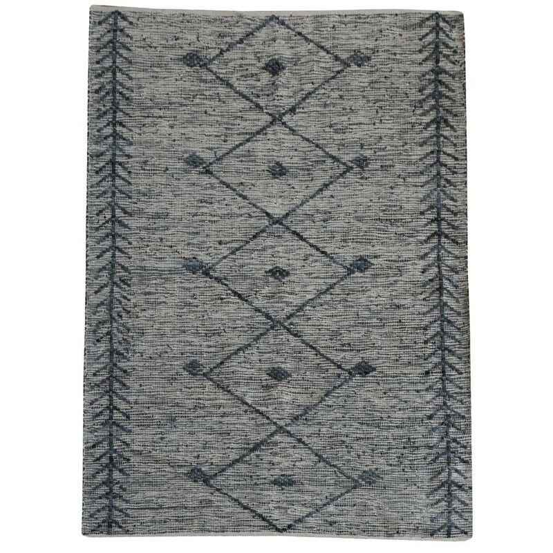 THE RUG REPUBLIC Tapis en cuir et coton gris Leonie 230 x 160 cm - Gris