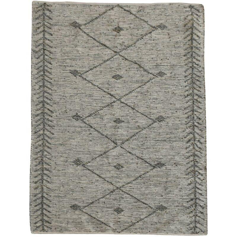 THE RUG REPUBLIC Tapis en cuir et coton taupe Leonie 230 x 160 cm - Taupe