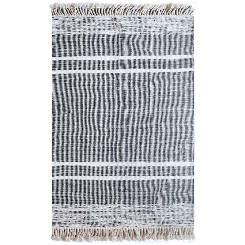 THE RUG REPUBLIC Tapis en laine Kolena 180 x 120 cm - Noir