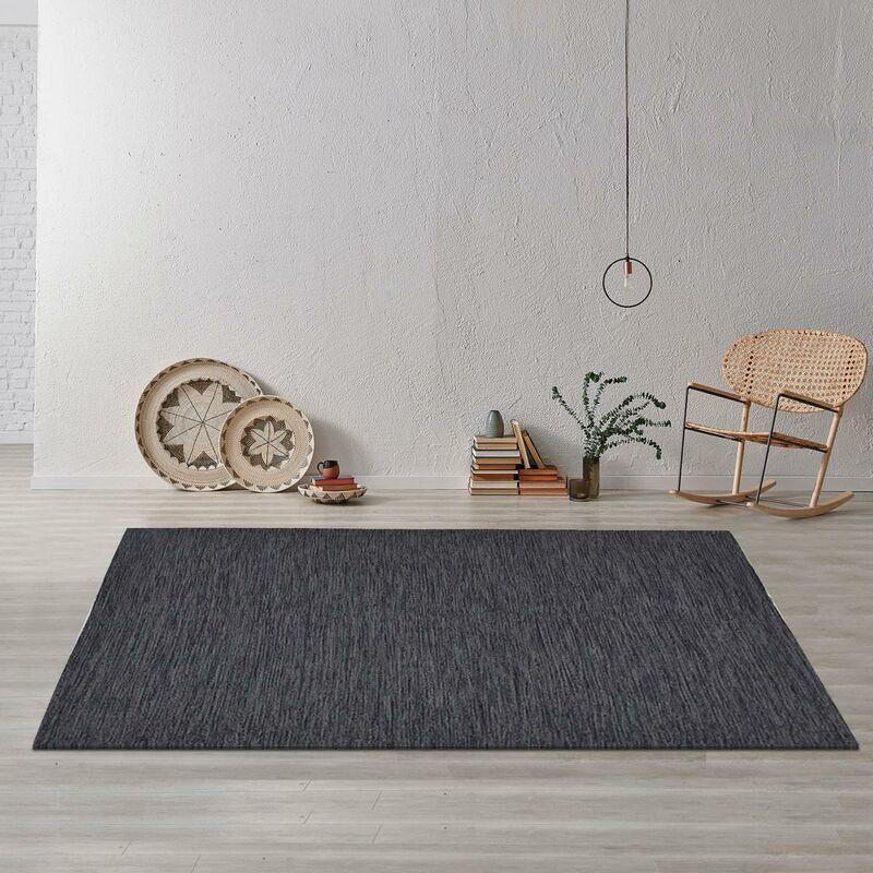 JADOREL Tapis moderne 160x230 cm Rectangulaire UNI CHINÉ 100% BIO Gris Chambre Tissé à la main Coton