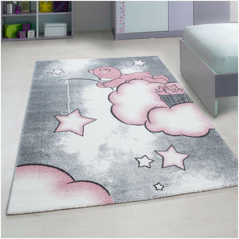 ALLOTAPIS Tapis pour bébé rectangle à courtes mèches Comix Rose 160x230 - Rose