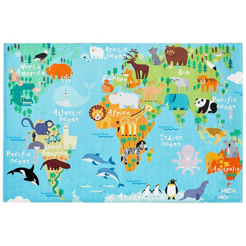 DELADECO Tapis pour bébé multicolore plat World Multicolore 120x170 - Multicolore