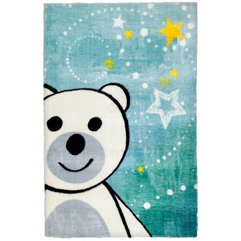 DELADECO Tapis pour chambre bébé multicolore doux en polyester Ours Multicolore 120x170 - Multicolore