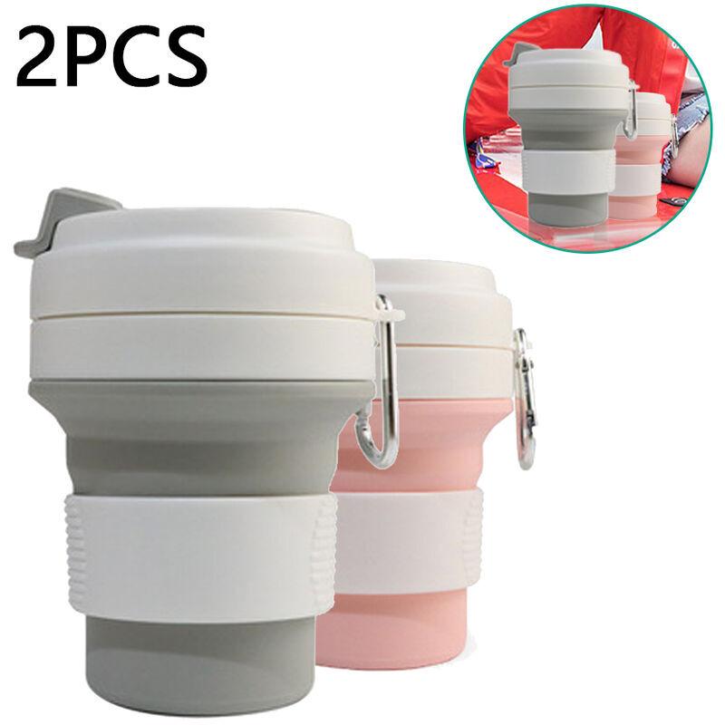 ZQYRLAR Tasse à café pliable réutilisable en silicone, tasse de camping légère et pliable portable avec couvercle, tasse à eau extensible pour la randonnée,