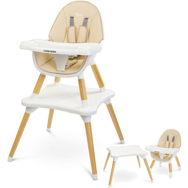 CARETERO TUVA Chaise haute évolutive en table et chaise Beige - Beige
