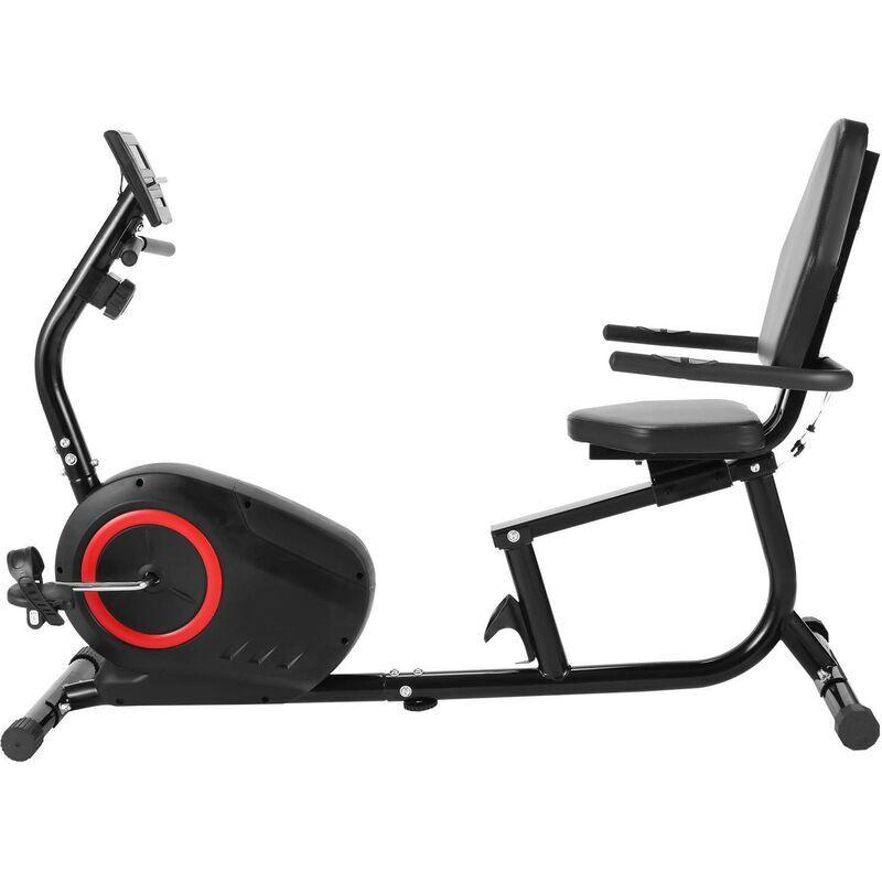 BETTER MAISON Vélo d'appartement inclinable de remise en forme de vélo d'exercice de 8 niveaux résistance magnétique LCD Noir - Noir