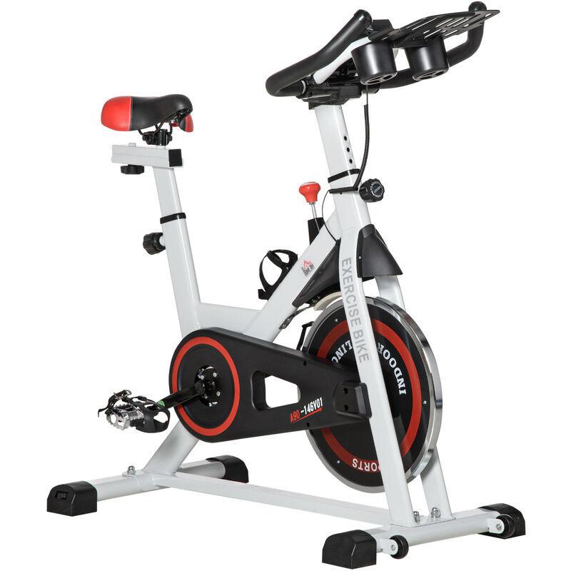 HOMCOM Vélo biking cardio vélo d'appartement écran LCD multifonction selle et guidon réglables volant inertie 8 Kg acier blanc